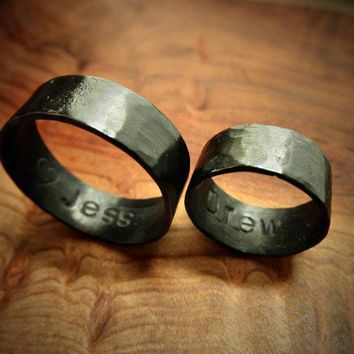 Couple's Ring Set w/ Secret Messages Oxidized Bold & by palefishny
