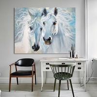 HDARTISAN Canvas Art Animal Painting Wall Pictures For Living Room Home Decor The Horse Lovers No Frame