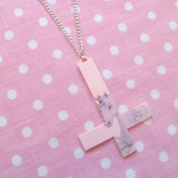Baby Pink Unicorn Inverted Cross Laser Cut Necklace
