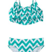 Old Navy | Girls Tiered Chevron-Print Bikinis
