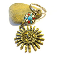 Celestial Sun Keychain, Antique Brass Sun Charm Key Chain, Brass Key Ring, Cool Car Accessory, Southwestern Jewelry, Unisex Keychain,