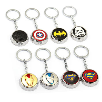 JM New Design Keychain X-Man Captain America Batman Star Wars Iron Man Superman Symble Bottle Cap Opener Model Alloy Key Ring
