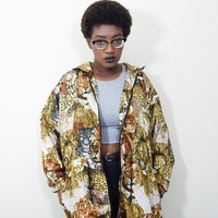 Cat Print Windbreaker Jacket // 90s // Boho // Vintage
