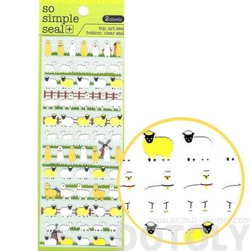 Adorable Alpaca Llama Sheep Lamb Shaped Animal Themed Stickers | 2 Sheets
