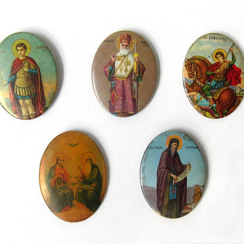 1930s antique tin litho Greek orthodox religious icon prints