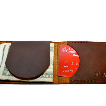Custom leather wallet for men. Choose color, thread, initials. Fisherman style men's front pocket wallet