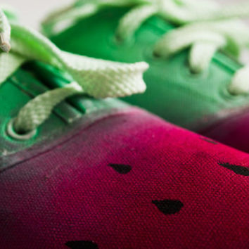 Watermelon - hand painted canvas ladies shoes.