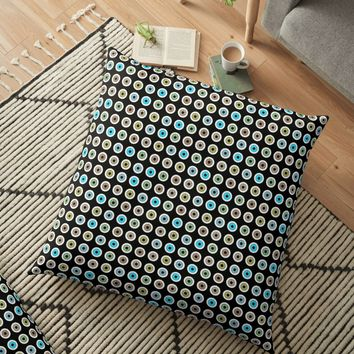 'googly eyes pattern on a black background' Floor Pillow by VrijFormaat
