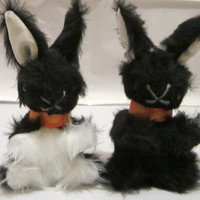 Black or Black and White Plush Baby Bunnies-Xmas Stocking Fillers- Easter Baskets-Pram and Cot Toys-Shower Gifts-Boys or Girls-Birthday Toys