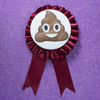 "Poop Emoji 3"" Pinback Button Ribbon"