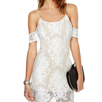 White Lace Off-shoulder Mini Bodycon Dress