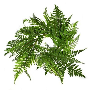 Artificial Fern Candle Ring, Green, 5-1/2-Inch