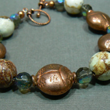 Copper ladybug and jasper bracelet with matching by 3cedarsjewelry