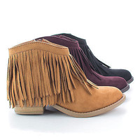 Jervis Western Pointed Toe Ankle Fringe Stacked Heel Bootie