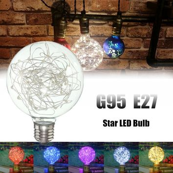 E27 G95 Starry Sky Retro Vintage Edison LED Firework Filament Multicolor Christmas Decor Light Bulb Lamp AC85-265V