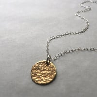 Gold Circle Necklace, Brass Hammered, Mixed Metal Necklace, Dainty Necklace, Disc, Minimal Necklace, Round Charm Necklace, Everyday Necklace