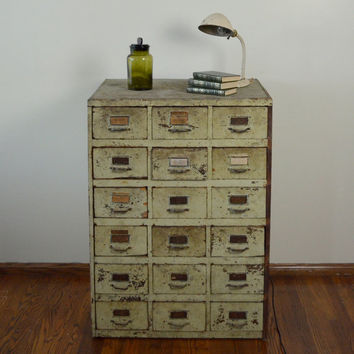 Vintage Hardware Apothecary Cabinet Shabby Chic Green 18 Drawers with Slots for Dividers