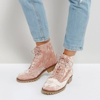 Qupid Velvet Flat Hiker Boot at asos.com