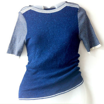 Vintage Blue Nautical Stripe Knit Top