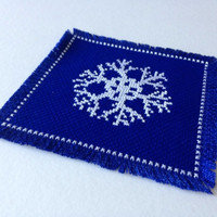 Coaster Handmade fabric coaster Snow flake coaster Cross stitch coaster