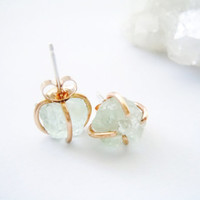 Raw Aquamarine Stud Earrings - Uncut Stone- March Birthstone -Hand Forged