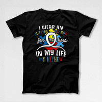 Autism Awareness Ribbon Uncle Shirt Aunt T Shirt Autistic Gifts Advocate Spectrum Month Day Charity My Nephew My Hero Mens Ladies Tee DN-684