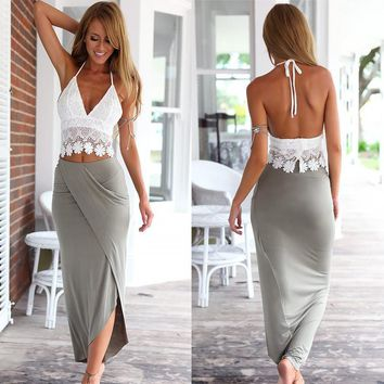 Womens Bodycon Slim Bandage Two Piece Crop Tops and Skirt Dress Set