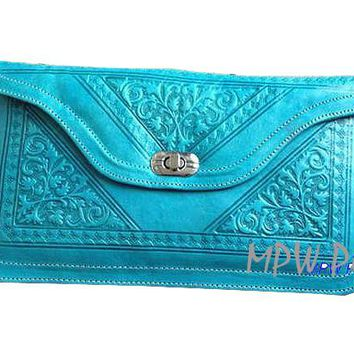 Moroccan Leather clutch bag - Turquoise