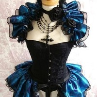 Dragonique   BURLESQUE  Bustle Skirt  and Shrug SET goth Pin Up