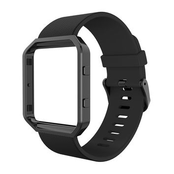 Simpeak Fitbit Blaze Bands with Frame, Silicone Replacement Band Strap with Frame Case for Fit bit Blaze Smart Fitness Watch, Small/Large