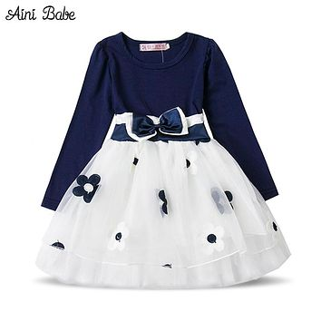 Baby Dresses Girl  Flower Toddler Girl Clothing Long Sleeve Tulle Design Dress for Kids Party Clothes