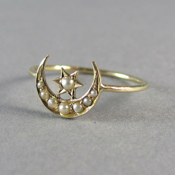 GORGEOUS delicate antique Victorian seed pearl moon and star ring, antique engagement ring, promise ring, stacking ring, delicate gold ring.