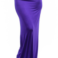 Fold Over Plum Purple Maxi Skirt