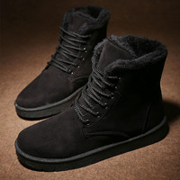 Men's Black Comfortable Winter Warm Ankle Snow Flat Shoes Lace-up Boots