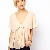 ASOS Blouse With Ruffle Cape And Pussybow at asos.com