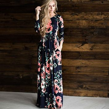 SHIBEVER Print Women Summer Autumn Long Dress Vintage Party Dress Boho Floor-Length Plus Size Casual Maxi Dress Vestidos ALD718