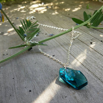 Avant-garde Swarovski pendant Necklace, blue crystal necklace, Indicolite jewellery
