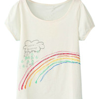 ROMWE Rainbow Print Sheer White T-shirt