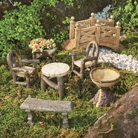 Woodland Fairy Garden Resin Furniture Set - Plow & Hearth