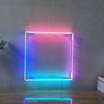 New Square Four Colors Neon Sign For Bedroom Wall Home Decor Artwork With Dimmer