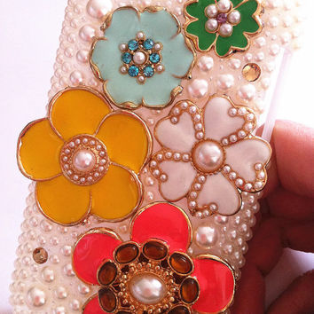 Apple iPod Touch 4 4G Gen 4th Generation Handmade Bling Charms Pearls Rhinestones Colorized Flowers Phone Case Cover Skin