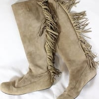 ~~~ DO IT LIKE KATE M! ~~~ $710 LANVIN MOCHA SUEDE FRINGE MOCCASIN/BOOTS ~~ 39