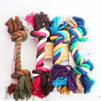 Pet Dog pet toys supplies Cotton Chew rope Knot Dog Durable Braided Bone bites rope 23cm for Small dogs Teddy Toy