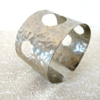 Artisan silver cuff, hammered metal cuff with open work, non tarnish, gift under 40