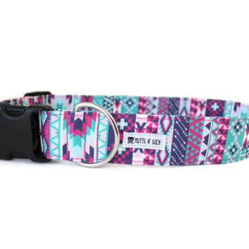 Dog Collar, Girl Dog Collar, Tribal Dog Collar, Aztec Dog Collar, Boho Dog Collar, Hippie Dog Collar (Upgrade to Metal Buckle or Martingale)