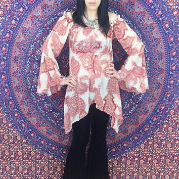 Vintage 70s Paisley Sheer Polyester Crepe Bell Sleeves Handkerchief Shape Babydoll Peasant Blouse One Size Fits Most