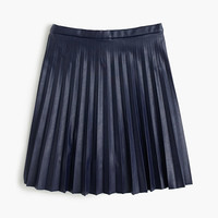 J.Crew Womens Petite Faux-Leather Pleated Mini Skirt