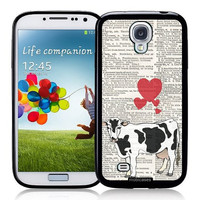 Cow Love On Dictionary Horses - Protective Designer BLACK Case - Fits Samsung Galaxy S4 i9500