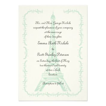 Paris wedding mint Eiffel Tower ivory invitation from Zazzle.com