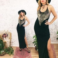 Vintage SAFARI Print Velvet Bodycon Maxi New Years Gown || Strappy Animal Print Bodycon Split Slit Dress|| Size Small
